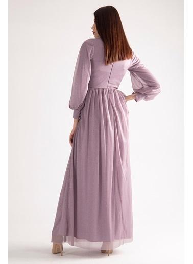 Belamore  Beli Işlemeli Drape Detaylı Abiye & Mezuniyet Elbisesi 1604003.333 Mor